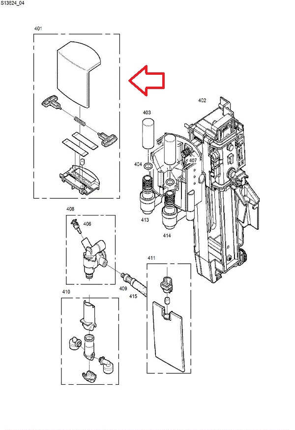 Jura GIGA X7 Dispensing Spout Cover Diagram